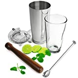 Boston Cocktail Shaker set with Hawthorn Strainer, Bar Mixing Spoon and Wooden Muddlerby Rink Drink
