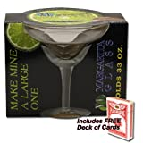 XL Margarita Glass Holds 33 oz - Plus FREE Deck of Cards