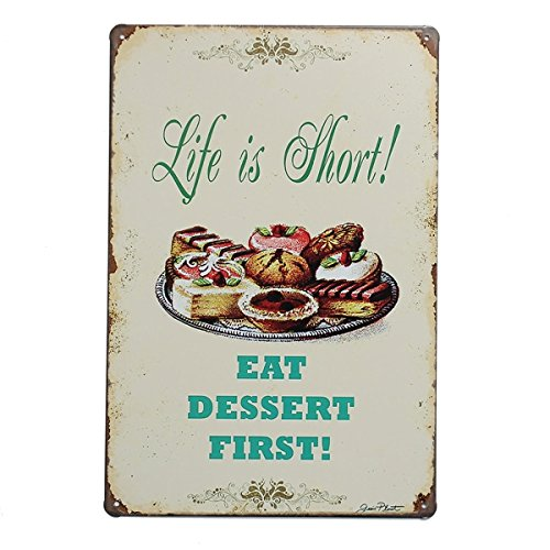 Life Is Short Dessert Tin Sign Vintage Metal Plaque Poster Bar Pub Home Wall Decor (Bbq Manifesto compare prices)