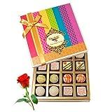 Valentine Chocholik's Belgium Chocolates - Treat Of White Truffles Box With Red Rose
