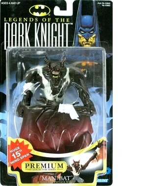 Batman Year 1997 Legends of the Dark Knight Premium Collector Series 18cm Tall Action Figure : MAN-BAT with Massive Attack Wings (Huge 38cm Wing-Span)