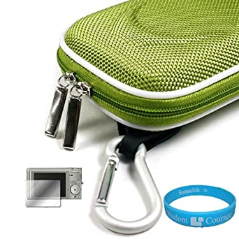 Camera Case for Sony Cybershot DSC-T DSC-W Series (Nylon Green) + Universal LCD Screen Protector Kit + Includes SumacLife Wisdom Courage Wristband