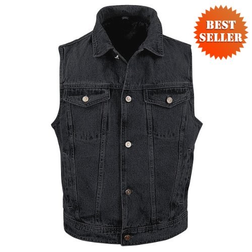 Motorcycle Vests - Men's Black Denim Jean Vest MV107 Black