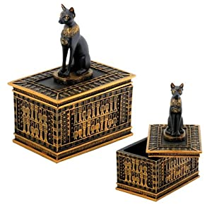 Egyptian Bastet Trinket Box Collectible Jewelry Container