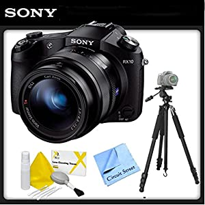 Sony DSCRX10/B Cybershot Digital Camera With Tripod, Lens Cleaning Kit and NCS Microfiber Cloth