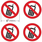 4 Pack of NO MOBILE PHONE 4'' Dia Sign Decal Sticker Window Door Wall stop cell cellular logo