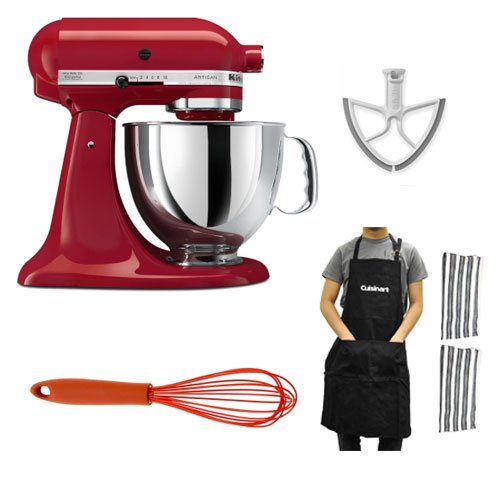 Kitchen Aid 150 Artisan 5-Qt. Tilt-Head Stand Mixer Empire Red + Beater Blade For Kitchenaid 5-Quart + Silicone Whisk + Cuisinart 3-Pk Kitchen Textiles front-533301
