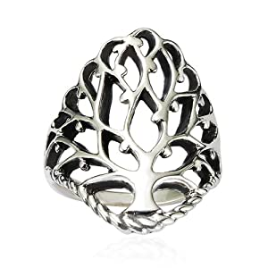 Chuvora 925 Sterling Silver 26 mm Detailed Large Celtic Tree of Life Band Ring - Nickel Free - Size 8