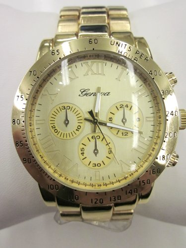 Holiday Gift Geneva Gold Tone Classic Round Men'S Watch. Faux Chronograph Design. Metal Link Band.