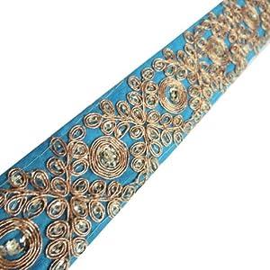 diseño paisley ajuste artesanía étnica cinta azul borde de encaje vestido de la india 1 yarda