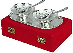 Jaipur Ace Silver Plated Brass Bowls Set Of 2 With 1 Spoon And 1 Tray (Abs00040 )