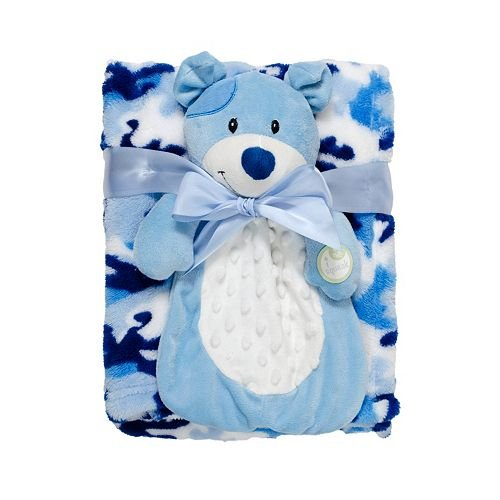 Babygear BB2002932 Big Face Squeaker Buddy With Blanket - Blue Puppy - 1