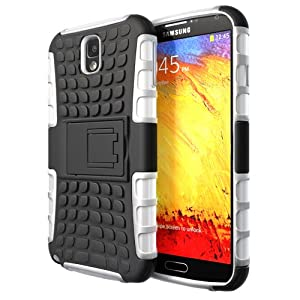 Hyperion Samsung Galaxy Note 3 Explorer Hybrid Case / Cover (Compatible with Verizon Samsung Note 3 / At&t Samsung Galaxy Note III / Sprint Samsung Note 3 / ALL International Samsung Note 3 SM-N900 Models) **Hyperion Retail Packaging** [2 Year Warranty] (White/Black)
