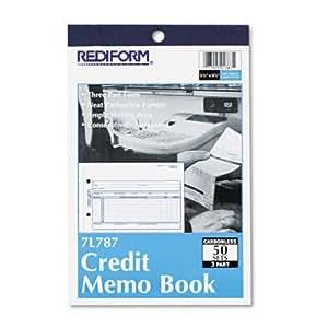 """REDIFORM Credit Memo, Carbonless Triplicate, 5.5 x 7.87"""" 50 Sets per Book (7L787)"""