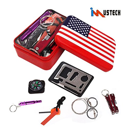 iMustech Emergency SOS Survive Tool, Survival Kit, Sturdy Tin Can for Camping Hiking Hunting Biking Climbing Traveling and Emergency, 6