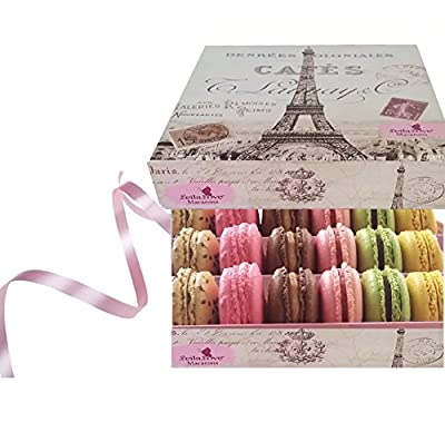 Leilalove Macaron collections- Paris Souvenir Box of 18 Gourmet Macarons up to 10 Flavor Assortments - in Collectible memory box(boxes may vary in color and style) by LeilaLove, Inc