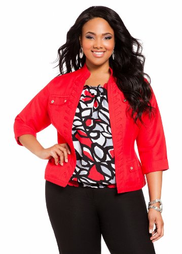Ashley Stewart Women's Plus Size Whipstitch Linen Jacket Red Coat 12