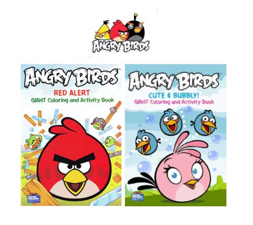 Angry Birds Giant Coloring & Activity Book 2-Pack (Red Alert & Cute and Bubbly) - 1