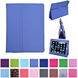HDE Magnetic Folding Leather Folio Case Cover Stand for Apple iPad 1st Generation Tablet (Periwinkle)