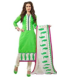 Fashion Queen Presents Green & White Colored Unstitched Dress Material