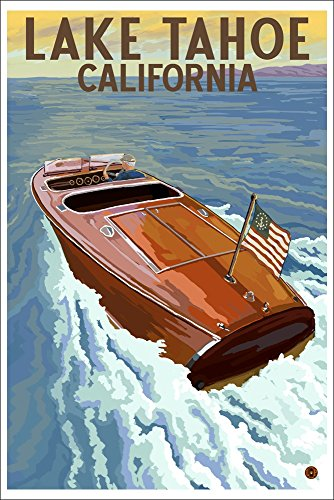 Lake Tahoe, California - Wooden Boat (12x18 Collectible Art Print, Wall Decor Travel Poster)