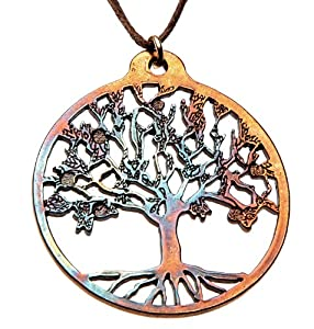 Tree of Life Iridescent Pendant Necklace on Adjustable Natural Fiber Cord