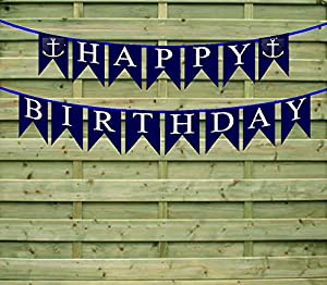 Happy Birthday Nautical Anchor Paper Garland Bunting Party Decoration Banner by Cake Supply Shop