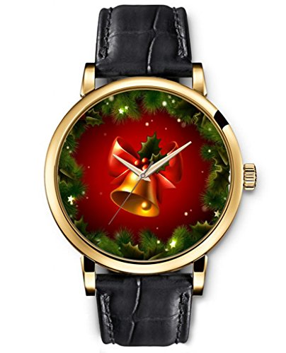 Sprawl Classic Analog Round Face Genuine Black Leather Gold Watches Present For Women Fun Design --- Golden Christmas Bell Watch front-996451