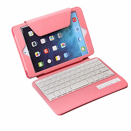 Tpcromeer Detachable Wireless Bluetooth Keyboard Stand Folio Pu Leather Case Cover For Ipad Mini 7.9 Inch With Auto Wake/Sleep Function - Pink