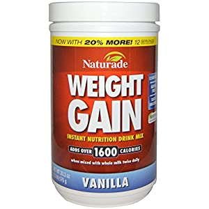 Naturade Weight Gain Instant Nutrition Drink Mix, Vanilla , 16.93 Ounce