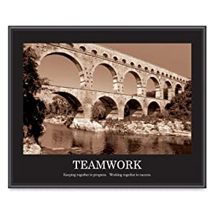 Advantus Framed Motivational Print, Teamwork, Sepia-Tone, 30 x 24 Inches, Black Frame (AVT78162)
