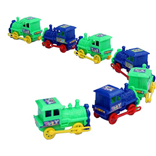 Dazzling Toys Pull Back Trains Assorted Colors - Pack of 6 (D131/6)