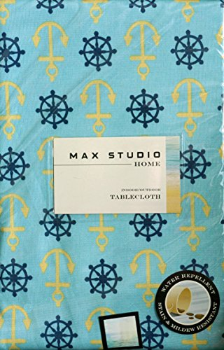 Max Studio Fabric Indoor Outdoor Tablecloth Anchors Ship Captain Steering Wheels 60