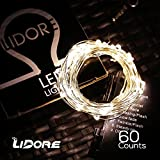 LIDORE® Micro LED 60 Warm White String Lights with 8 Modes. Waterproof battery box.3AA Battery Operated on 20.7 Ft Long Silver Color Ultra Thin String Wire.Suitable for indoor and outdoor