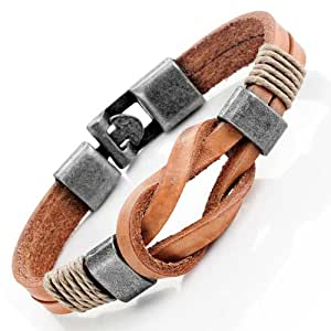 Amazon.com: Tan Leather Nautical Knot Bracelet for Him and ...