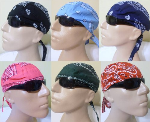 Skull Caps 6 Assorted Paisley Designs AKA Bandanna Biker Cap Motorcycle Skull Hat Doo Rags Durags Bandanna Wraps Variety Pack Red Black Light Blue Green Pink Navy Blue Use for gardening Yard Work Painting Restaurants Construction House Cleaning Natural Hair Loss or Balding Due to Chemotherapy