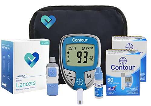 OWell Bayer Contour Complete Diabetes Blood Glucose Testing Kit, METER, 100 Test Strips, 100 Lancets, Lancing Device, Control Solution, Manual, Log Book & Carry Case