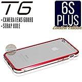 iPhone6s Plus ケース T6 メタルバンパー 高品質アルミ製 カメラレンズガード・ストラップホール付 (iPhone6s Plus, レッド x シルバー)