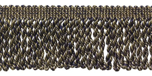 2.5 Inch Bullion Fringe Trim, Style# EF25 Color: Navy Beige - 8565, Sold By the Yard