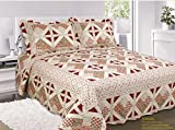 Single Bed Floral Wine Patchwork Sansa Bedspread Quilted Comforter Throw Traditional Country Cottage