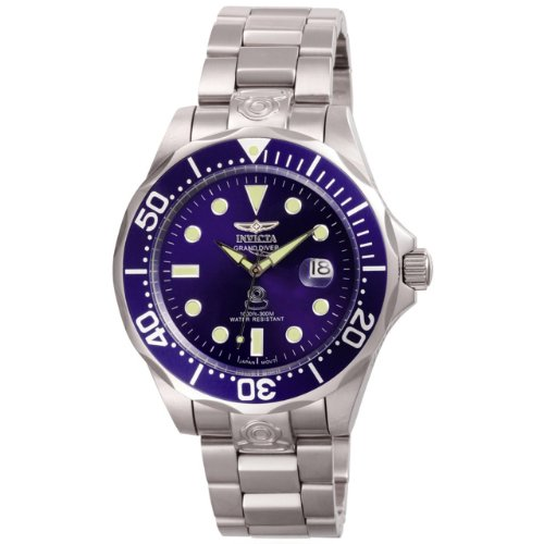 Invicta Men's Pro Diver Grand Automatic Analogue Watch 3045 with Stainless Steel Blue Bezel and Blue Dial