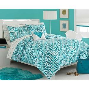 Dorm Bedding Roxy Aqua Teal Zebra Teen Girls Comforter Set 200tc