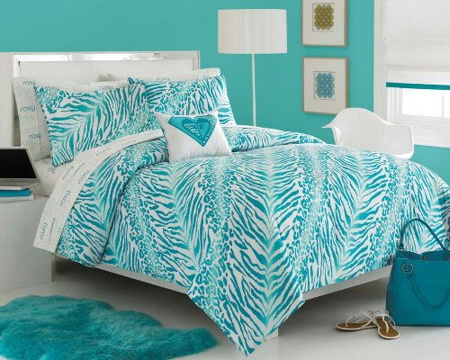Incroyable Teal Zebra Print Comforter Set