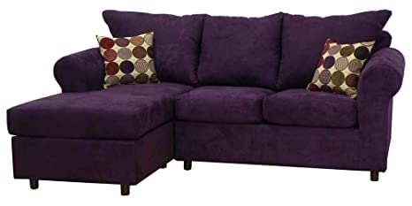 Dina 2-Pc Sectional Sofa in Bulldozer Eggplant Fabric