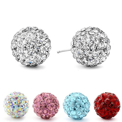 Authentic Diamond Color Crystal Ball Stud Earrings.