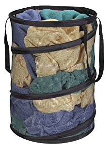 Household Essentials Pop-Up Mesh Hamper, Black