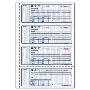 Money Receipt Bk,3-Part,100 Sets,Detached Size 2-3/4x7