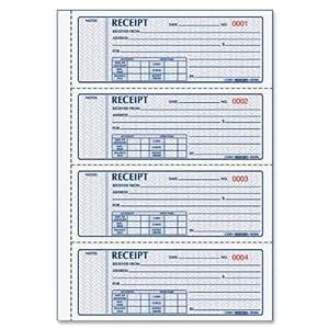 REDIFORM Money Receipt Bk,3-Part,100 Sets, Detached Size 2-3/4x7 (8L808)