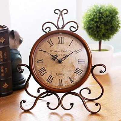 ECVISION European Style Retro Vintage- Inspired Wrought Iron Craft Table Clock