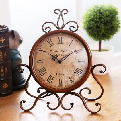 ECVISION European Style Retro Antique Retro Vintage-Inspired Wrought Iron Craft Table Clock For Hall,Shoe Cabinet,Restaurant,Bedroom Nightstand,Dresser,Garden Home Decor Desk Clock 0